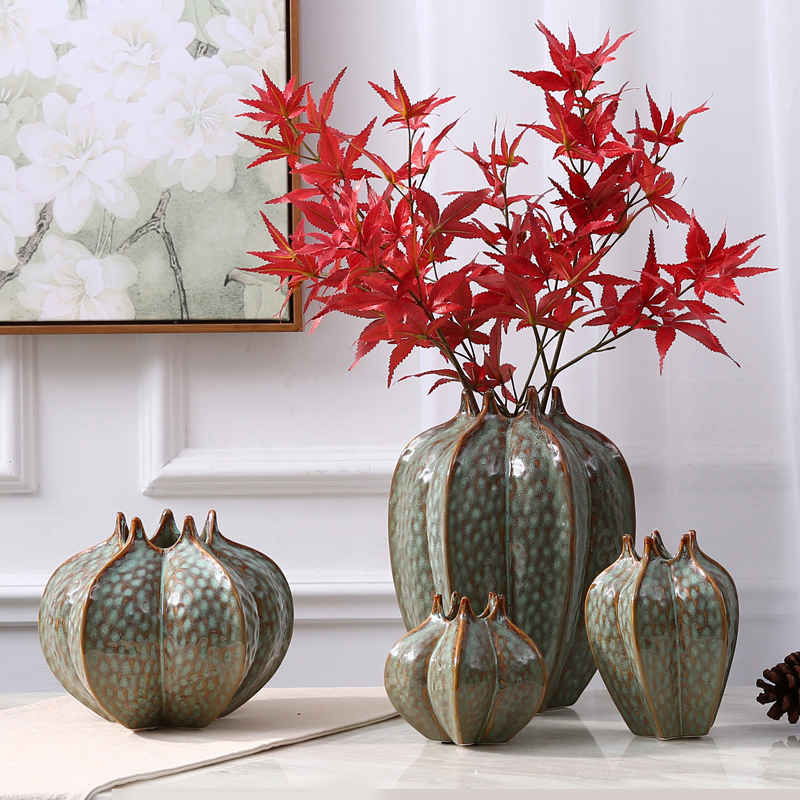 Modern Ceramic vase High quality Creativity Dried flowers containers Tabletop Carambola shape home wedding decoration