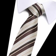 40 Style Brown striped Mens Ties Neck  Silk Gravatas for Men Wedding Suit Dress Blue Orange Red Purple Corbatas Hombre