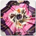 Luxury Bag and Chain Printed Bandana-Style Scarf H Brand Silk Scarves Women Muffler Headband Collar Tippet Fulares Mujer Marca