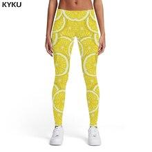 KYKU Lemon Leggings Women Fruit 3d Print Yellow Sexy Gothic Leggins Printed pants Womens Pants Fitness Bodybuilding