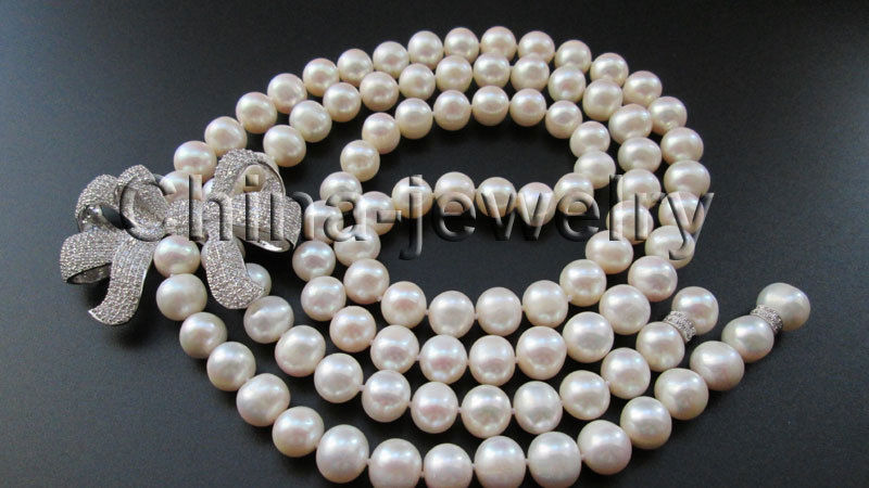 "P6673-30"" 10-11mm natural white round freshwater pearl necklace - zircon Bowknot"