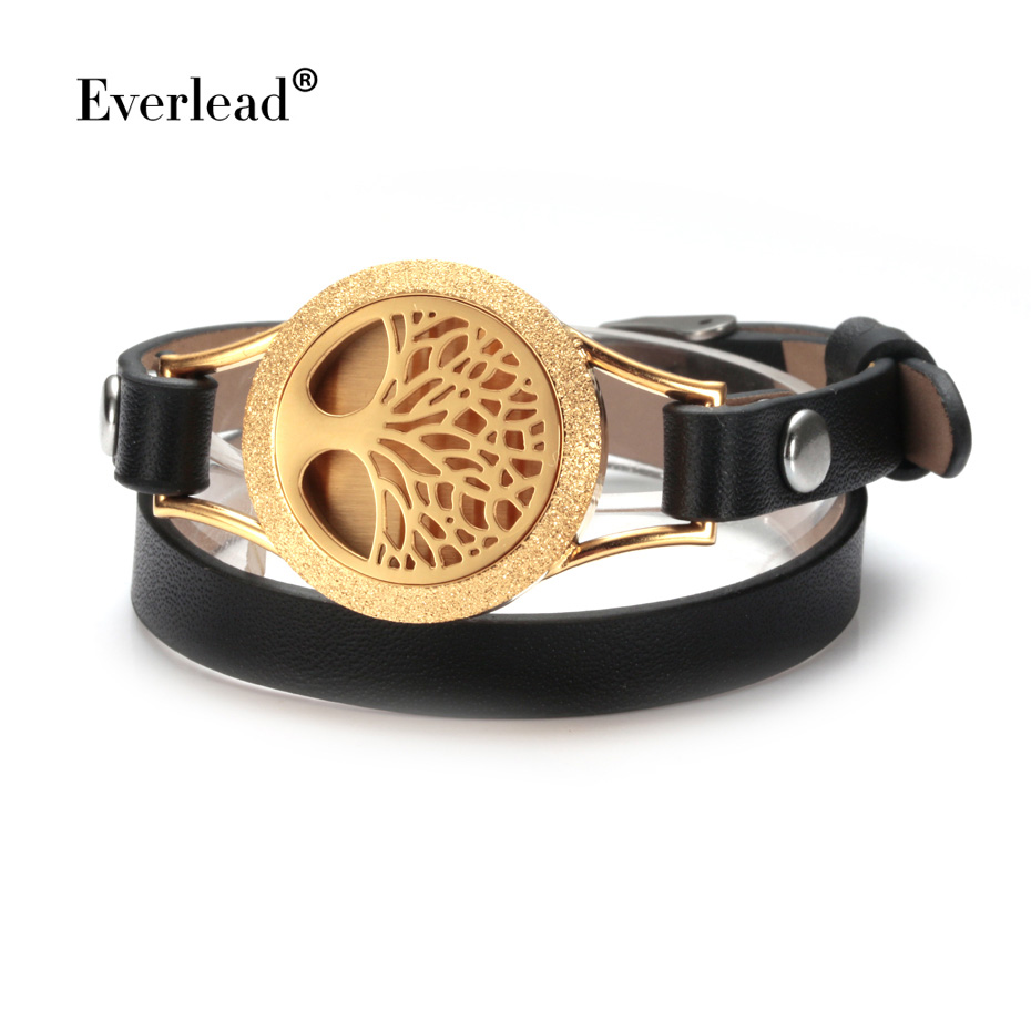 EVERLEAD Wrap Bracelets for Women Gold color tree of life lucky leather bracelets aromatherapy perfume diffuser bangle jewelry
