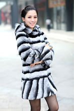 Classic Womens Hooded Parka Graceful Real Rex Rabbit Fur Coats with Hoody Imitated Chinchilla Winter Long Fur Overcoats LX00801