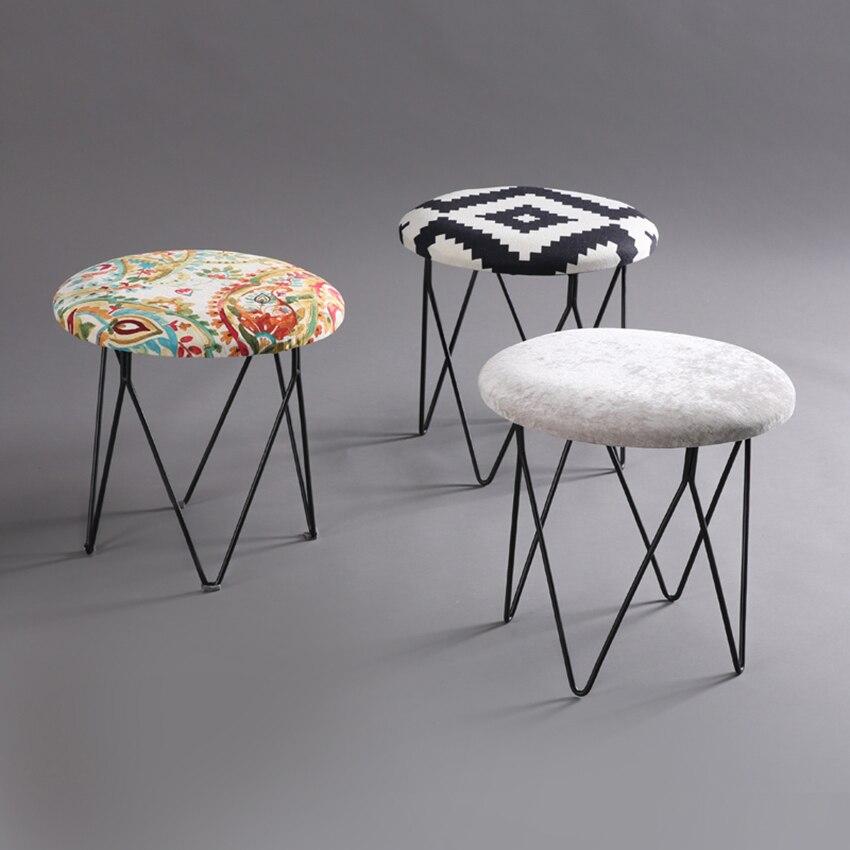 Amerikaanse Stijl Moderne Luxe Gestoffeerde Paddestoelen Voetenbank Ronde Weefsel Bedekt Kruk + Iron Been (4 Benen) Meubelen