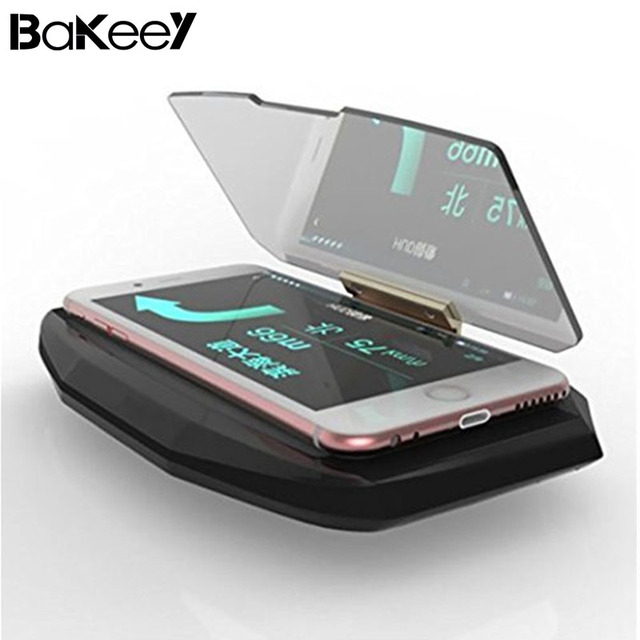 Hot Sale Bakeey HUD Head Up Display Car Cell Phone GPS Navigation Image Reflector Holder Mount Black Universal Display Holder