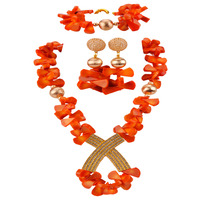 Fashion Orange Coral Jewelry Set African Wedding Beads Coral Necklace Sets Bridal Jewelry Sets RCBS33