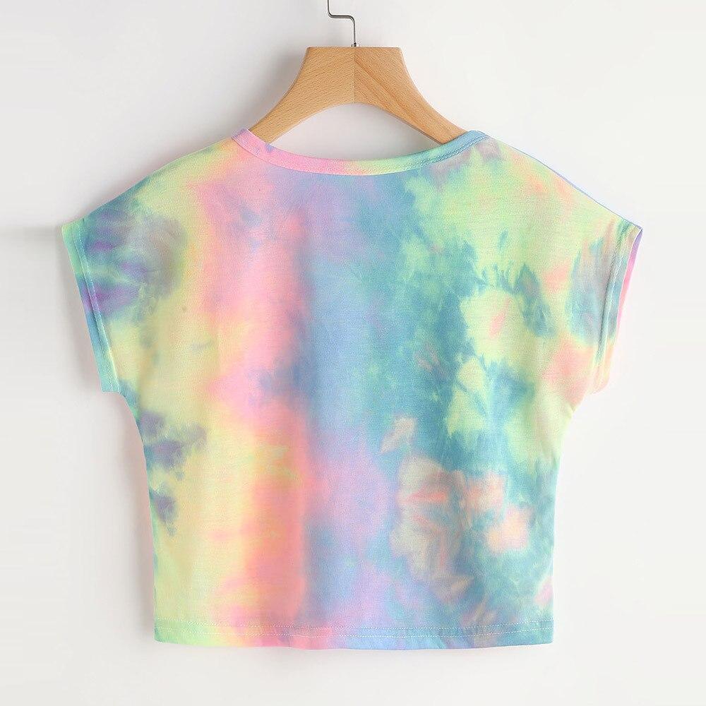 tshirt women Colorful   t     shirt   Women Tie Dye Short Sleeve Casual Loose   T  -  Shirt   Tops Slim tees FOR Lady camiseta mujer