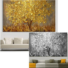 New Handmade Large Modern Canvas Art Oil Painting Knife Golden Tree Paintings For Home Living Room Hotel Decor Wall Art Picture(China)