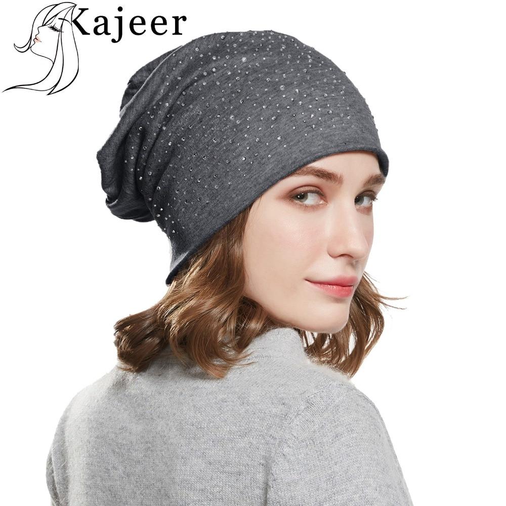 Kajeer Brand Fashion Winter Women Autumn And Winter Hat angora Knitted   Skullies     Beanies   Cap Diamond Decoration Hats for Girls