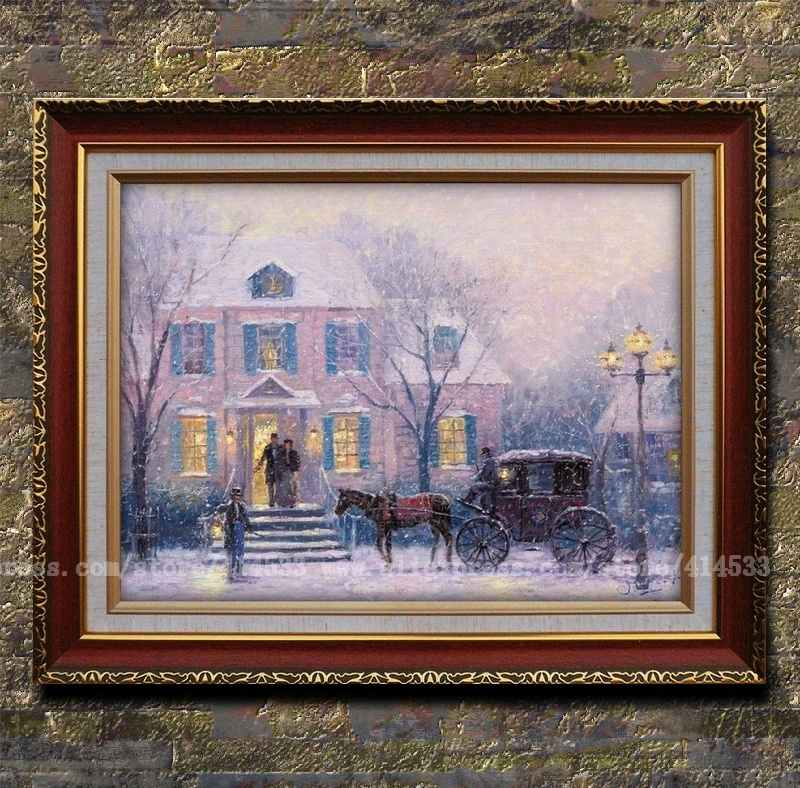 Thomas kinkade prints of oil painting lamplight lane snow - Home interiors thomas kinkade prints ...