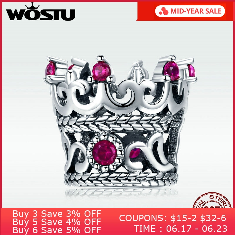 Nova Chegada 925 Sterling Silver Queen Crown Charme Beads Fit Original wst Pulseira Colar Autêntico DIY Jóias DXC776