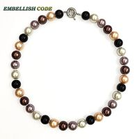 Champagne Black Yellow Brown Coffee 12mm Mixed Color Sea Shell Mother Pearls Necklace Perfect Round Ball