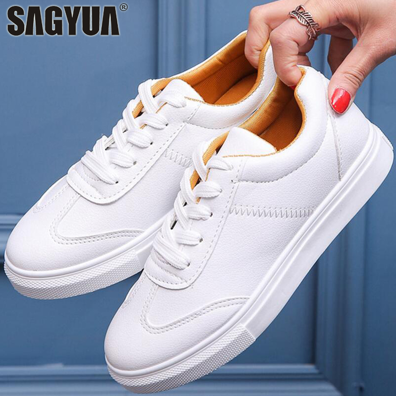 Students Women Fashion Spring Female Flats Boards Shoes Casual Comfort Lace Up Walking T ...