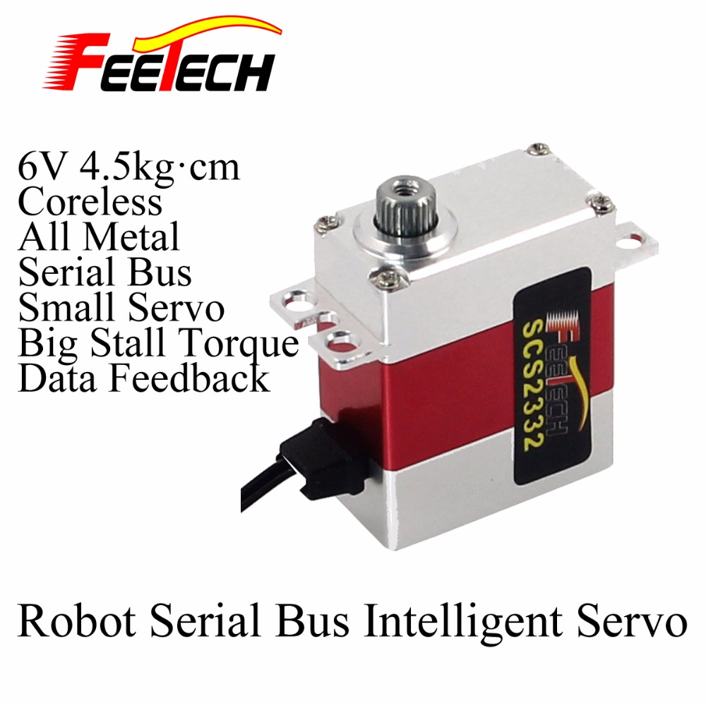 Robot Serial Bus Intelligent Servo, Feetech SCServo2332 , small 6V 4.5kg cm Torque, All Metal, Coreless, Data Feedback Function 704201 000 [ data bus components dk 621 0438 3s]
