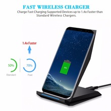 Qi Wireless Charger 2-Coils Fast Wireless Charger Charging Pad Foldable Stand Charger for Samsung Galaxy S7 S8 For iphone 8 X