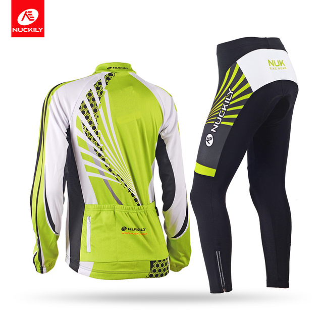 Inverno NUCKILY Mulheres Bicicleta Conjunto Camisa de Ciclismo Verde Jersey de Lã Térmica Calças Ciclo Define Montando Roupas GE010GF010 1