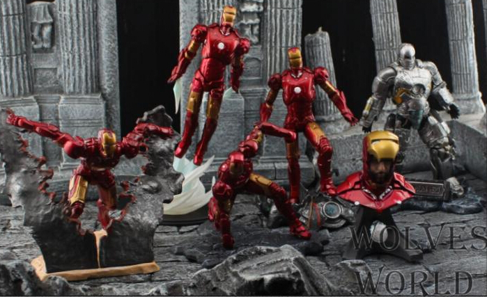 6pcs/set 7-14cm Iron Man 3 Action Figures PVC brinquedos Collection Figures toys for christmas gift with Retail box