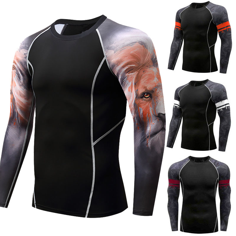 Men Rashguard T-shirt Breathable Long Sleeve Boxing Jerseys Muay Thai T-Shirts Fitness Sport Running Tee Bjj Printing Tiger Tops