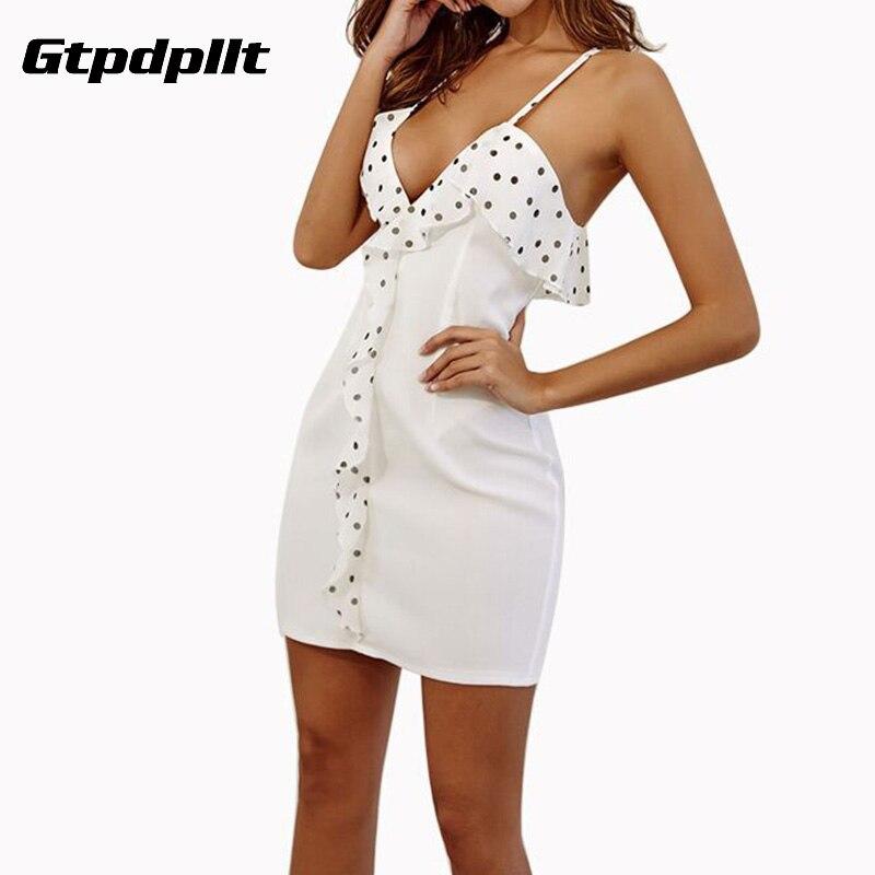 81ea5526ca US $10.99 30% OFF|Gtpdpllt Summer Dress Women Sexy V neck Mini Bodycon  Dresses Ruffle Backless White Casual Dress Bot Club Party vestidos robe-in  ...