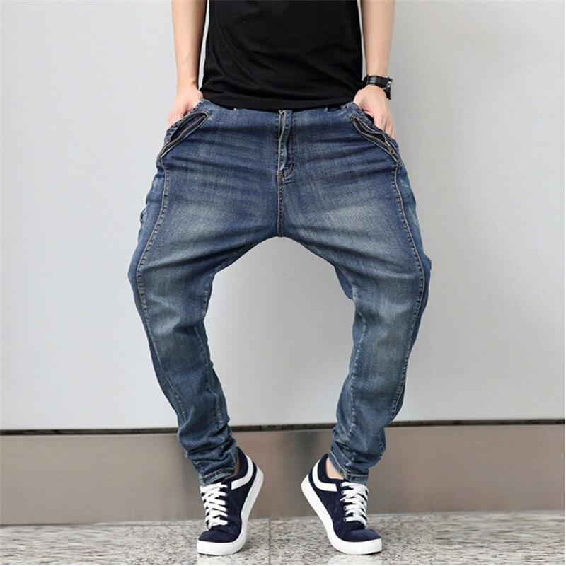 ФОТО Big Size M-6XL New Fashion Casual Jeans Denim Mens Joggers Fitness Pants Stretch Elastic Trousers Hip Hop Harem