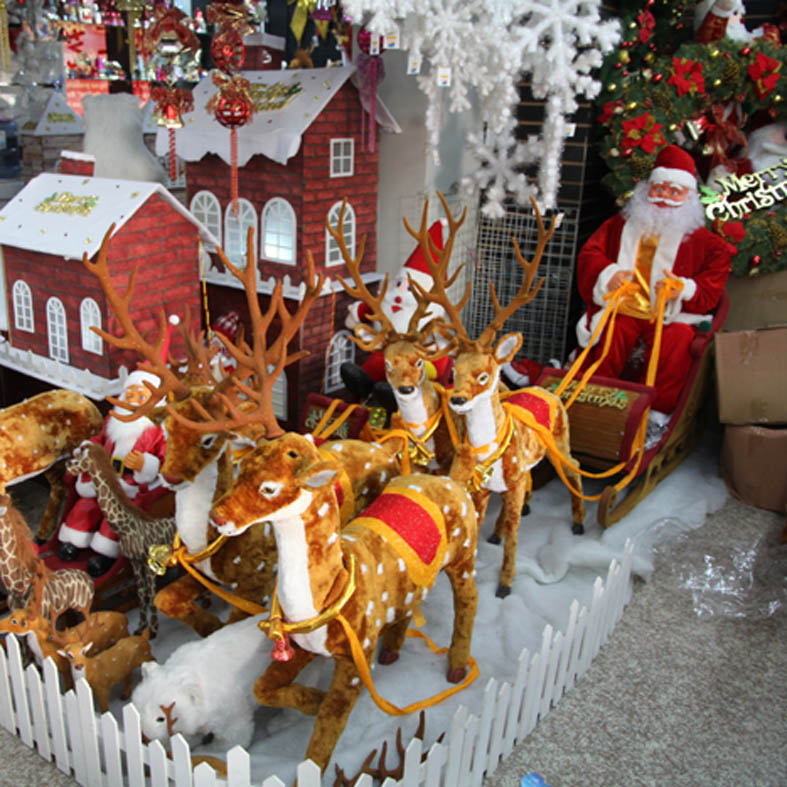 christmas decoration large christmas sleigh pulled by reindeer elk old electric car deer pull carts set scene layout on aliexpresscom alibaba group