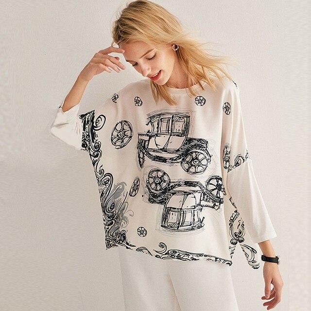 96% Silk Blouse Women Top Plus Sizes Simple Design O Neck Drop-shoulder Modal Sleeves Loose Top 2 Colors New Fashion 2019