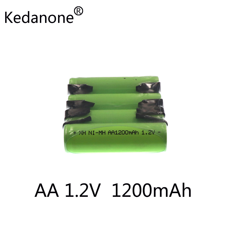 Kedanone 1.2V AA rechargeable battery 1200mah 2A ni-mh nimh cell pack with tabs pins for Philips Braun electric shaver toothbrus цена 2017