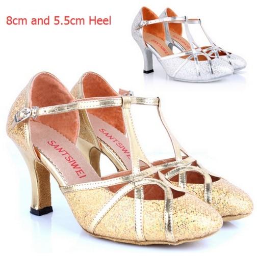 Professional Silver Gold Glitter 8cm High Heel Ballroom Latin font b Salsa b font Dance font