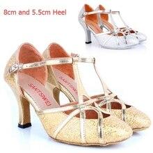 Professional Silver Gold Glitter 8cm High Heel Ballroom Latin Salsa Dance Shoes / Closed Toe Ladies Girls Women Salsa Shoes