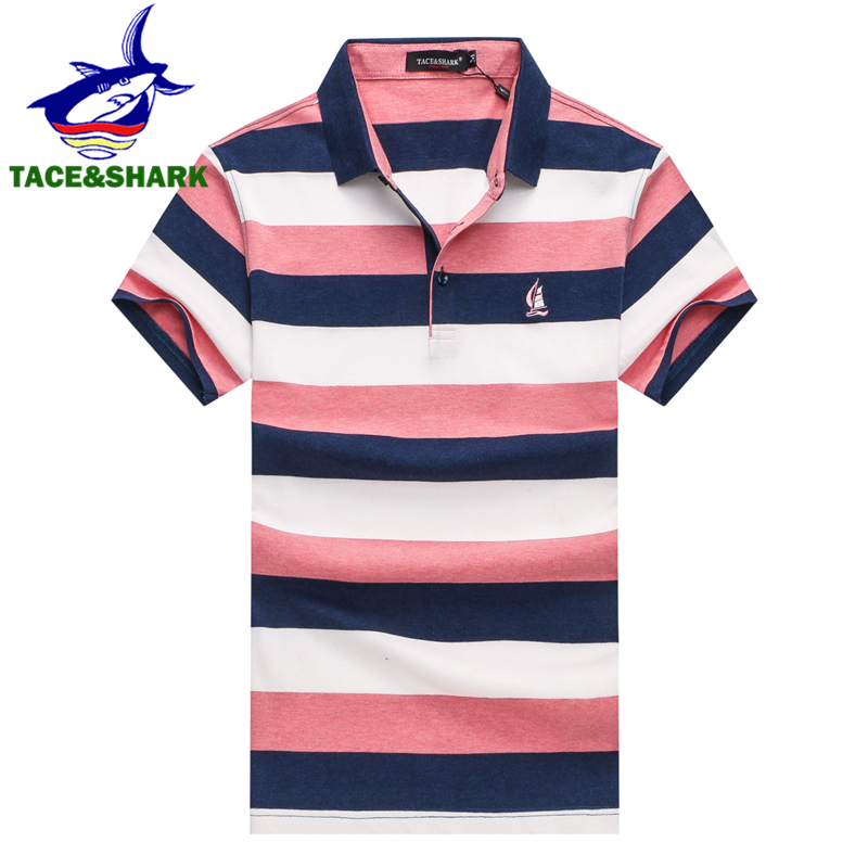 2018 Us18 Cotton Brand Tops tace amp;shark Sailboat Camisa Masculina Casual 43Off Stripe Fashion Embroidery Men In 27 Clothing Mens Polo ukXiZP