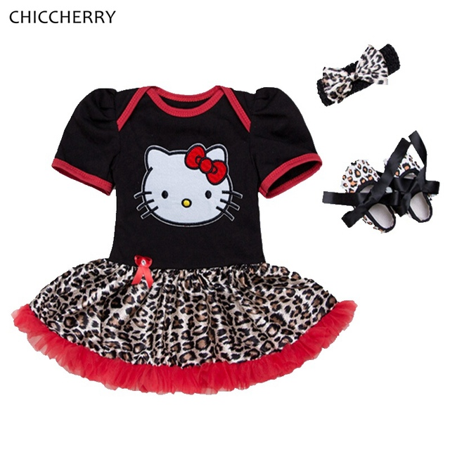 Hello Kitty Leopard Lace Petti Rompers Dress Headband Crib Shoes Newborn Infant Clothing Baby Girl Clothes Roupa De Bebe Menina