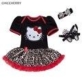 Olá Kitty Leopardo Macacão de Renda Petti Vestido Headband Crib Shoes Recém-nascidos Infantil da Roupa Do Bebê da Menina Roupas Roupa De Bebe De Menina