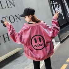 Thekorean версия куртка в бывшем ВВС куртка Мужская и Женская бейсбольная форма, смайлик Вышитые Любовь
