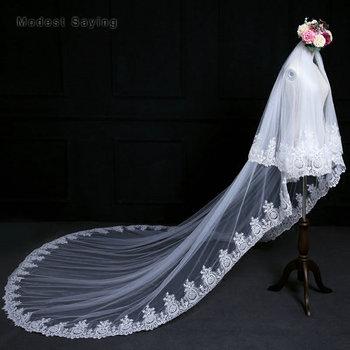 Elegant Ivory 3 Yard Cathedral Sequined Lace Wedding Veils 2018 with Metal Comb Church Bridal Veils abiti da cerimonia da sera