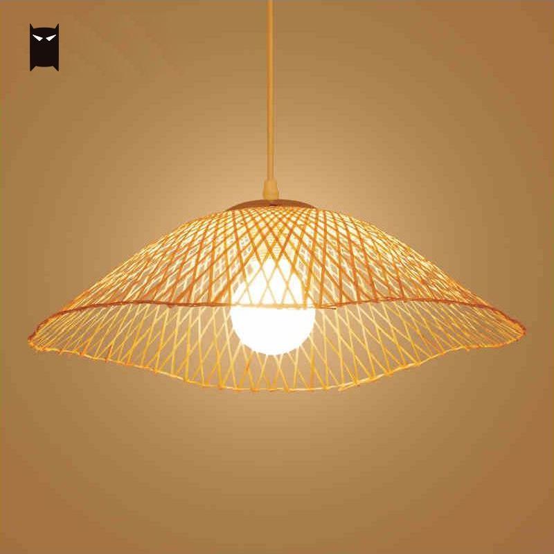 Bamboo Wicker Rattan Unbrella Pendant Light Fixture Nordic Japanese Rural Hanging Ceiling Lamp for Restaurant E27 Edison Bulb