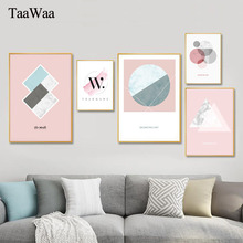 TAAWAA Abstract Pink Canvas Poster Painting Print Minimalism Quote Wall Art Nordic Style Picture For Living Room Decoration