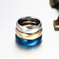 Vnox 6mm Classic Wedding Ring for Men / Women Gold / Blue / Silver Color Stainless Steel US size 4