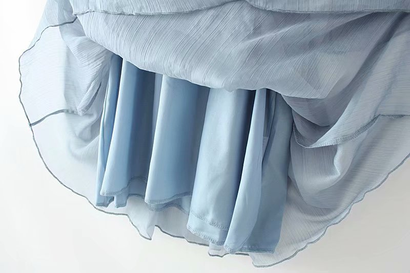 V neck Chiffon Dress Women Midi Vestidos Three Quarter Sleeve Plus Size Ruffles Casual Summer Dress KKFY3580 in Dresses from Women 39 s Clothing