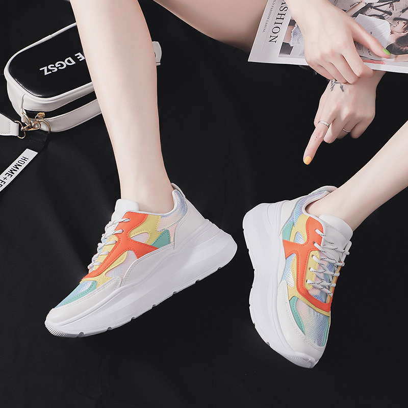 Fujin Sneakers Women Summer 2019 Dropshipping Colorful Bright White Shoes Flat Platform Fashion Leisure Women Thick Bottom Shoes in Women 39 s Flats from Shoes