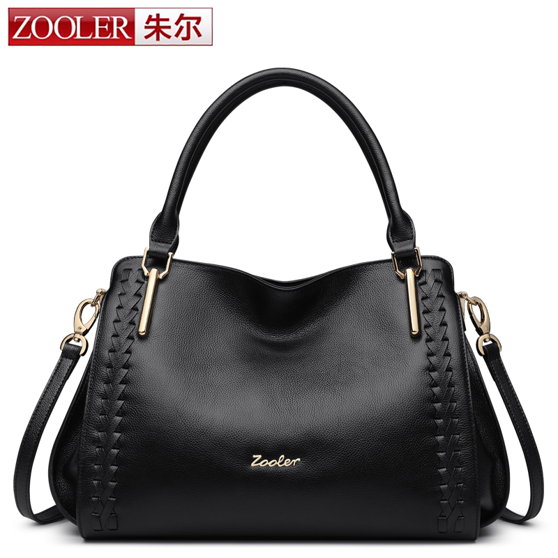 ZOOLER Real Cow Women Genuine Leather Bags Handbag Famous Brand Black Shoulder Bag 2017 New fall leisure Braided Bag Red Handbag almost famous new black tough love sweater msrp $49 00