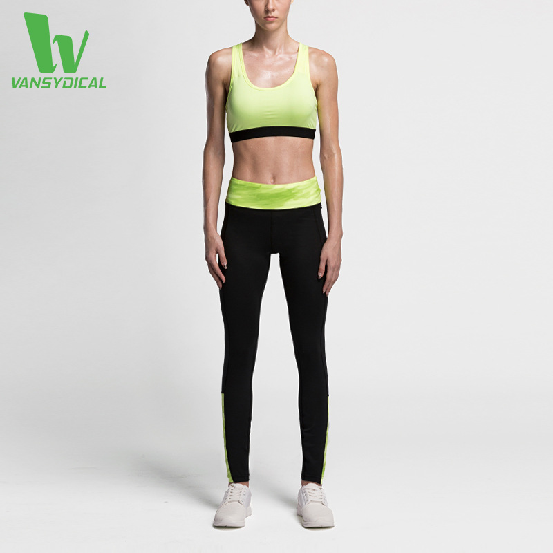 Women Gym Running Tight Fitness Clothing Training Quick Dry Set Breathable Vest Bra Sport Leggings Long Pants Yoga Suit