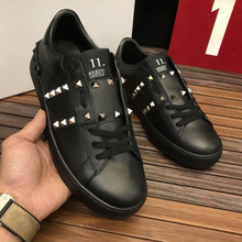 European station women's shoes trend board shoes leather white shoes Korean version of the breathable wild casual rivet couple