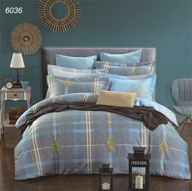 Orange White Geometric Drawing Bedclothes 4pcs Bedding Set Queen King Size Bed Sets Morden Warm Color