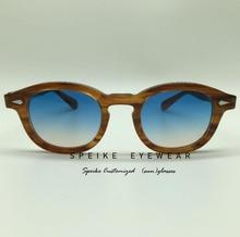 SPEIKE Customized New Fashion Lemtosh Johnny Depp style sunglasses AAAAA+ quality Vintage round sun glasses blue/yellow lenses