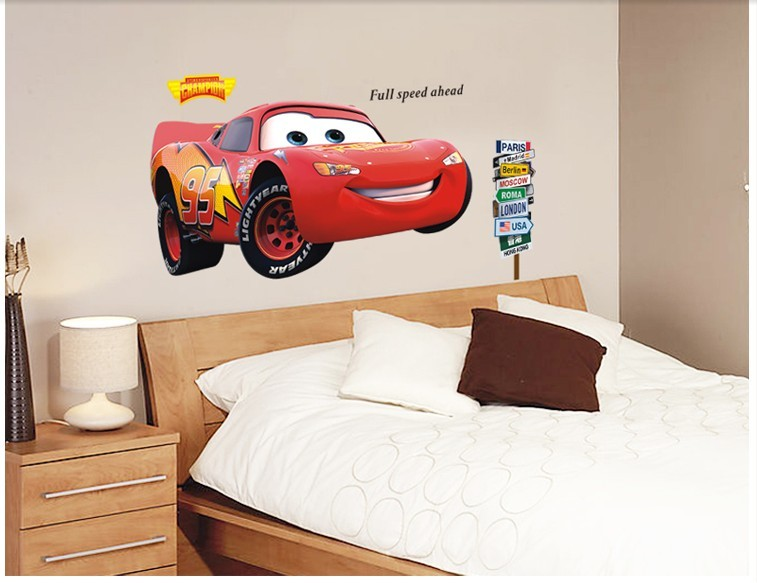 3D Cars Lightning Mcqueen Wall Sticker For Kids Bedroom Vinyl Removable  Decal Adesivo De Parede Home Decor In Wall Stickers From Home U0026 Garden On  ... Images