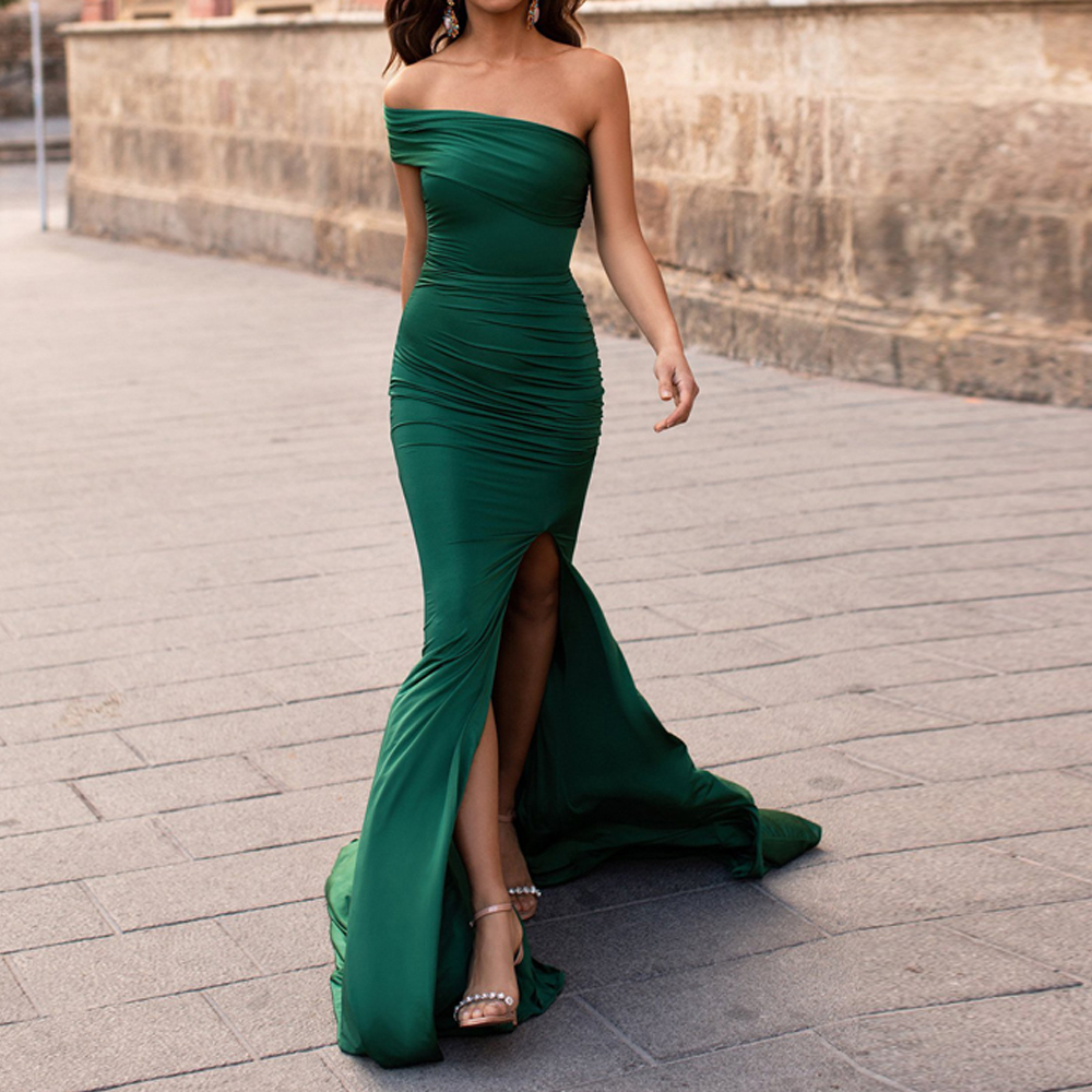 Missord 2019 Women Sexy Off Shoulder High Split Dresses Female Solid Color Elegant Maxi Dress  FT19550