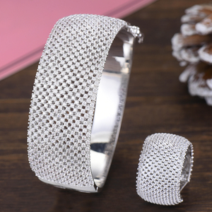 Image 4 - GODKI Wide Luxury Tennis Bangle Ring Sets Jewelry Sets For Women Wedding Cubic Zircon Crystal CZ aretes de mujer modernos 2019