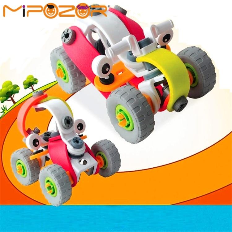 mipozor 60pcs deformable vehicle sets 2 models car educational building blocks assemblage bricks racing toys for kids student