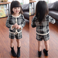 New 2017 Baby Girls Clothing Sets Spring Children Clothing Sets Plaid Coats + Shorts 2pcs/sets 1-7Yrs Kids Suits Girls Clothes