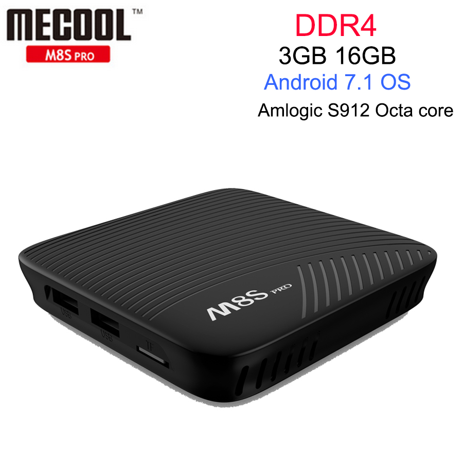 MECOOL M8S PRO Android 7.1 Smart TV Box Amlogic S912 3GB 16GB DDR4 Octa core UHD 4K H.265 Miracast Airplay WiFi BT Media Player цена 2017